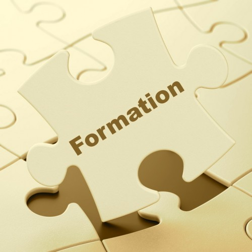 Education concept: Formation on White puzzle pieces background, 3d render